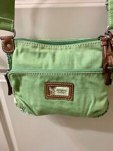 Fossil Shoulder Handbag Green Large Silver Hardware Purse