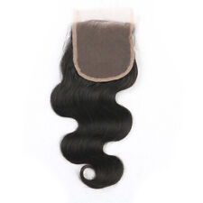 Natural Black Color 4*4 Body Wave Human Hair Virgin Brazilian Hair Lace Closure