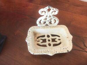 Vintage Antique Cast Iron Soap Dish Heavy Shabby Decor White