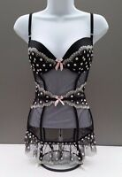 NWT Victoria's Secret Womens Black and Polka Dot Bustier Multi-Size Retail$78.00