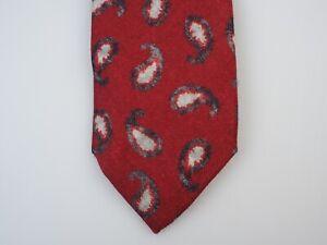 NWT ISAIA Seven 7 Fold Tie Krawatte cravatta Paisley Red Small 100% Wool