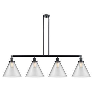 Innovations F XL Cone 4-LT LED Island, BK/Clear/Cone - 214-BK-G42-L-LED