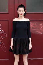 Damen Kleid dress schwarz rot red black Spitze 80er True VINTAGE 80´s women lace