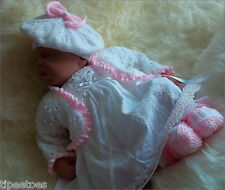 Baby Knitting Pattern DK Girls Reborn Dolls TO KNIT Cardigan Beret Hat & Booties