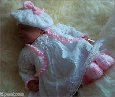 Baby Knitting Pattern DK Girls Reborn Dolls TO KNIT Cardigan Beret Hat & Booties