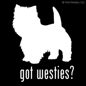 GOT WESTIES? WEST HIGHLAND WHITE TERRIER DOG DECAL DOGS