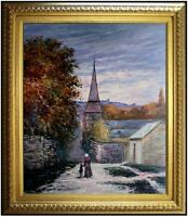 Framed, Monet Street in Sainte-Adresse Repro. Hand Painted Oil Painting 20x24in