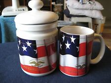 """New listing White Ceramic with Flag and Gold Eagle """"First American""""Coffee Mug/Sugar Bowl Set"""