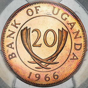 1966 UGANDA 20 CENTS PCGS PR65RD CAM FINEST KNOWN WORLDWIDE GEM CHOICE (MR)