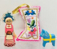 Vintage Handmade Folk Art Girl  Embroidery Floral Boot Horse Christmas Ornaments