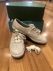 Size US8.5/UK 6 KATE SPADE KEDS Shoes Cream Glitter Sneakers