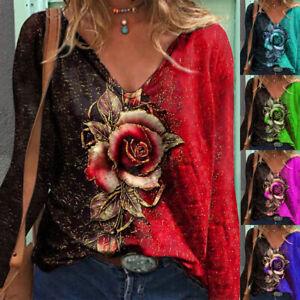 Womens Ladies Rose Tee Blouse Loose Pullover Sweatshirt Holiday Shirt Tops