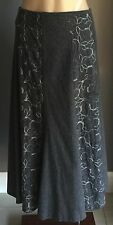 Vintage CALLAN DESIGNS Grey Floral Embroidered Panel Skirt Plus Size 18 *Fab
