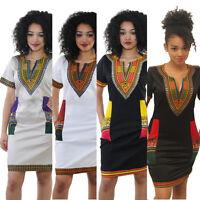 Women Sexy short sleeve vintage print national style slim clubwear party dress