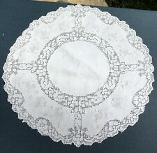 Unusual Figural Antique Handmade Embroidered Lace Drawnwork Doily