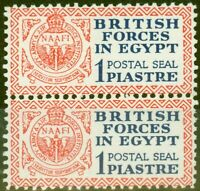 Egypt 1932 1p Dp Blue & Red Postal Seal SGA1 V.F MNH & LMM Vertical Pair