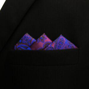 KH13 Paisley Purple Blue Mens Pocket Square Hankies Silk Handkerchief Wedding