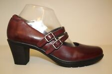 Clarks Redish Brown Leather Two Strap Mary Jane Heel Pumps Shoes Womens Sz 8.5 M