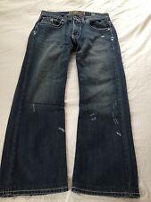 Buckle BKE Mens Mid Rise Derek Boot Cut Leg Distressed Blue Jeans Size 30 L29