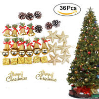 36pcs Christmas Tree Decor Home Children's Room Xmas Party Bell Star Ornament US