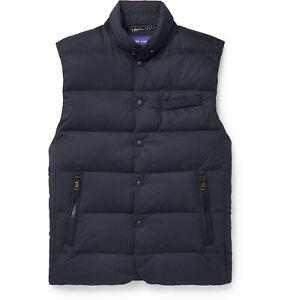 Ralph Lauren Purple Label Navy Whitwell Quilted Down Gilet Vest Jacket New