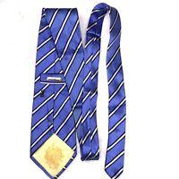 Donald J Trump Signature Collection Blue Yellow Striped Necktie Tie 100% Silk