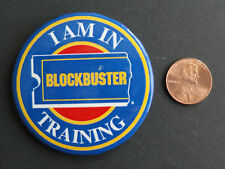 """BLOCKBUSTER VIDEO EMPLOYEE """"I AM IN TRAINING"""" PINBACK BUTTON - GREAT COLLECTABLE"""