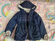 Girls Navy Polka Dot Coat. 5-6 Years Old (with Gloves Attached)