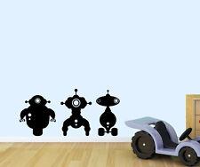 3X ROBOTS No4 Children's bedroom nursery vinyl sticker wall transfer home decor