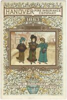 1883 Aesthetic Movement Hanover Fire Insurance Trade Card