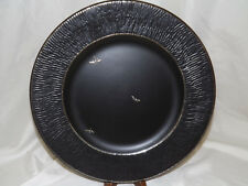 Emilia Castillo Textured Black with Silver Overlay Dinner Plate Dragonflies NWT