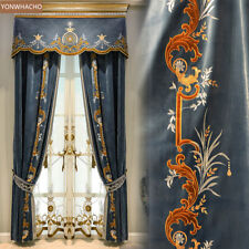 European embroidered thick velvet room blue cloth curtain valance panel C023