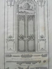 PORTE PLACARD APPARTEMENT  PARARDE BLONDEL GRAVURE XVIIIème ORNEMENT  DECORATION