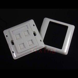 4 port Double RJ45 Wall Face Plate/Faceplate Network LAN Cat5e/6 + screws