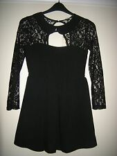 BNWT LADIES PROM LACE SLEEVE & TOP - CUT OUTS - LINED  LITTLE BLACK DRESS 10-12