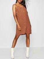 BOOHOO Brown Polka Dot Button Through Cami Mini Dress  (BOO18)