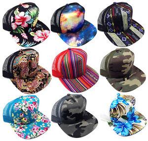 SUBLIMATED ALL OVER PRINT MESH TRUCKER FLAT BILL SNAPBACK HAT CAP ADJUSTABLE NWT