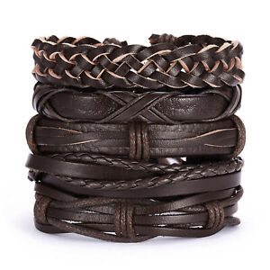 Men's Brown Leather Bracelet Surfer Wide Multi Row Layer Stack Wristband Wrap