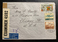 1941 Schoftland Switzerland Airmail Censored Cover To Chicago IL USA