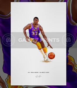 Magic Johnson Los Angeles Lakers Basketball Illustrated Print Poster Art