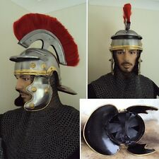 BIG SALE - Red Plume Roman Centurion Helmet For Theatre Or Costume Use  #