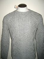 Levi's Mens Fisherman Cable Crew Neck heavy Wool sweater Grey NWT 19480002