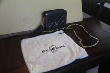 ST JOHN'S CLUTCH PURSE WOMEN EVENING TOTE BAG QUILT LEATHER BLACK HAND GOLD