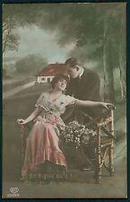 Edwardian Lady Man Love Romance Couple original old 1910s photo postcard 1079