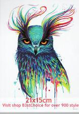 UK 21X15CM Colorful owl Half Sleeve Temporary Tattoo ARM BACK