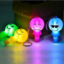 2Pcs Cute Smile Face Shape LED Whistle Key Chain Kids Toy Gift Random Color