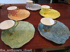 "Royal Albert England 5 tea cups withsnack plates ""Gossamer"" pattern, [*4-39]"