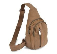 Westend Brown Crossbody Canvas Sling Bag Backpack with Adjustable Strap