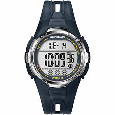 Mens Timex Marathon Indiglo Blue Rubber Sports Alarm Digital Watch T5K804