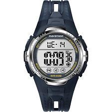 Mens Timex Marathon Indiglo Blue Rubber Sports Alarm Digital Watch T5K804